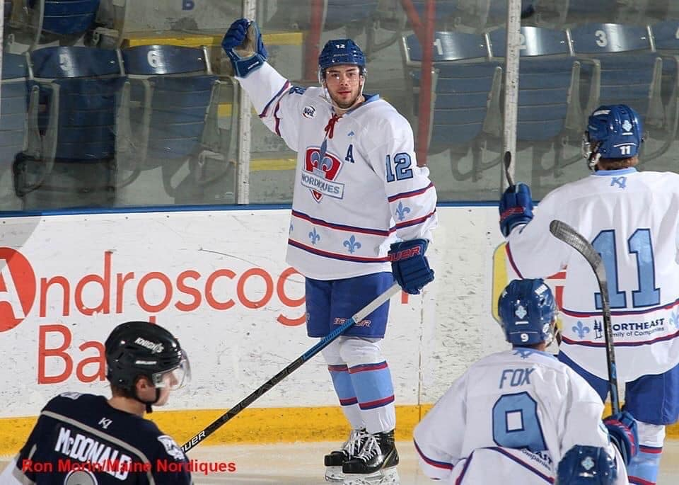 Kevin Pitts encourages the crowd after the goal in the last game of the season at home